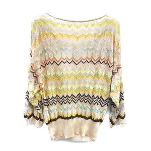 M Missoni Knit Top Multicolored Cream Knit Sweater